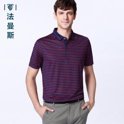 """法曼斯2016夏季翻领<span class=""""gcolor"""">短袖T恤</span>男士商务休闲青年条纹薄款短袖衫"""