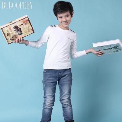 BUBOOFEEY 男童纯色圆领长袖T恤 625#