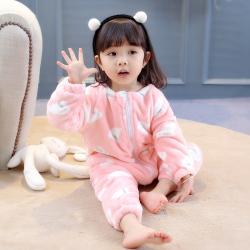 NNNN2D01101 8632小鸽子爬服 一件代发宝宝加绒连体睡衣家居服秋冬季女童哈衣小孩分腿睡袋爬服