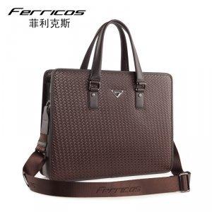 菲利克斯真皮男包编织纹牛皮商务男士手提包公文包单肩包横款正品 FE60180-1