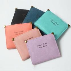 2016新款韩版钱包复古磨砂女士短款薄款迷你小钱包零钱包钱夹