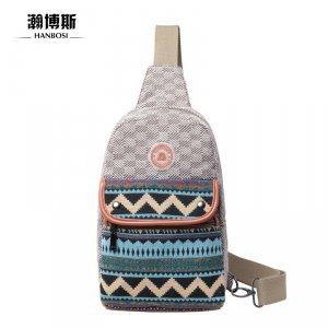 【瀚博斯】时尚潮流 纯棉帆布休闲情侣单肩斜跨胸包 HBS-9008
