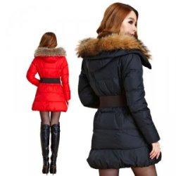 供应韩版冬季女装新款羽绒服原单长款修身大貉子毛领送皮腰带