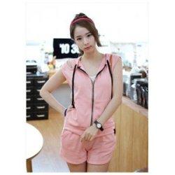 夏季新款套装 韩版无袖带帽时尚运动套装9795
