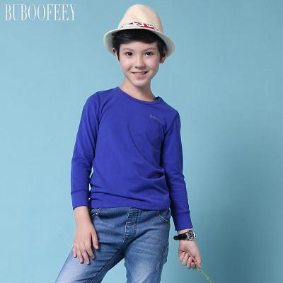 BUBOOFEEY 男童纯色圆领长袖T恤 620#