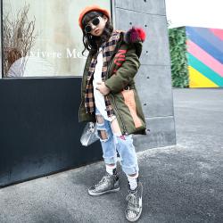 TJD06106 A字棉衣 一件代发女童棉衣2017冬装韩版中大童女童棉袄加厚中长款棉服外套