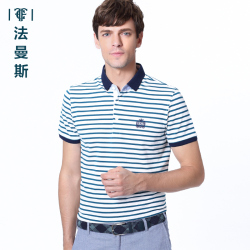 """法曼斯2016夏装新款翻领棉<span class=""""gcolor"""">短袖T恤</span>薄青年男士商务蓝色条纹体恤衫"""