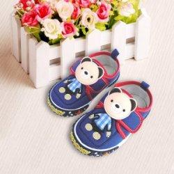 2016新款男女韩版童鞋小熊板鞋深蓝色帆布鞋防臭柔软棉布鞋
