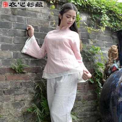 衣心衫藏 时尚中国风文艺复古长袖棉麻改良汉服女装旗袍上衣 16CW02046