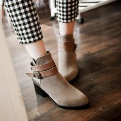 """玫红色杏色6厘米短靴<span class=""""gcolor"""">高跟</span>高根粗跟绒面翻毛皮带扣一件代发"""