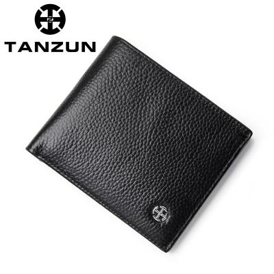 TANZUN/天尊 时尚商务OL2折头层牛皮短款横款钱包 B310