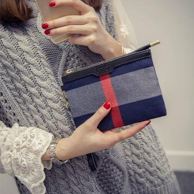 【法兰米尔】2016新品 欧美时尚潮流格子布女士手拿包钱包 8004